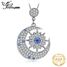 JPalace Moon Star Created Spinel Pendant Necklace 925 Sterling Silver Gemstones Choker Statement Necklace Women Without Chain