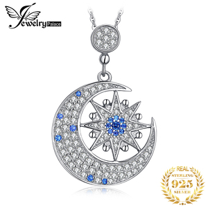 Image 1 - JPalace Moon Star Created Spinel Pendant Necklace 925 Sterling Silver Gemstones Choker Statement Necklace Women Without Chain