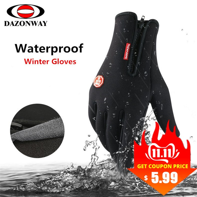 Winter Warm Gloves Men Women Anti-slip Plus Velvet Touch Screen Bicycle Cycling Gloves Full Finger Skiing Glove Black S M L XL