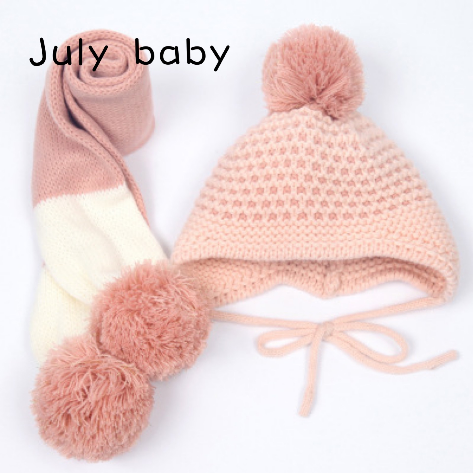 July Baby New Autumn And Winter Cute Children's Handmade Knitted Hat Scarf Two-piece Baby Warm Wool Big Ball Scarf Two-piece
