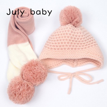 July baby new autumn and winter cute children's handmade knitted hat scarf two-piece baby warm wool big ball scarf two-piece july baby new autumn and winter cute children s handmade knitted hat scarf two piece baby warm wool big ball scarf two piece