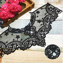 Black White Mesh Lace Hollow Lace Fake Collar Lace Embroidered Round Neck Flower For Dress Lace DIY Handmade Accessories P17 round neck lace panel shift dress