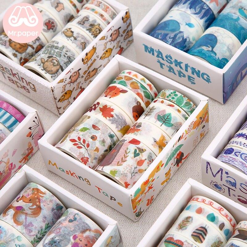 Mr Paper 26 Designs 10pcs/box Cute Cartoon Animals Washi Tapes Scrapbooking DIY Deco Creative Japanese Kawaii Masking Tapes 2