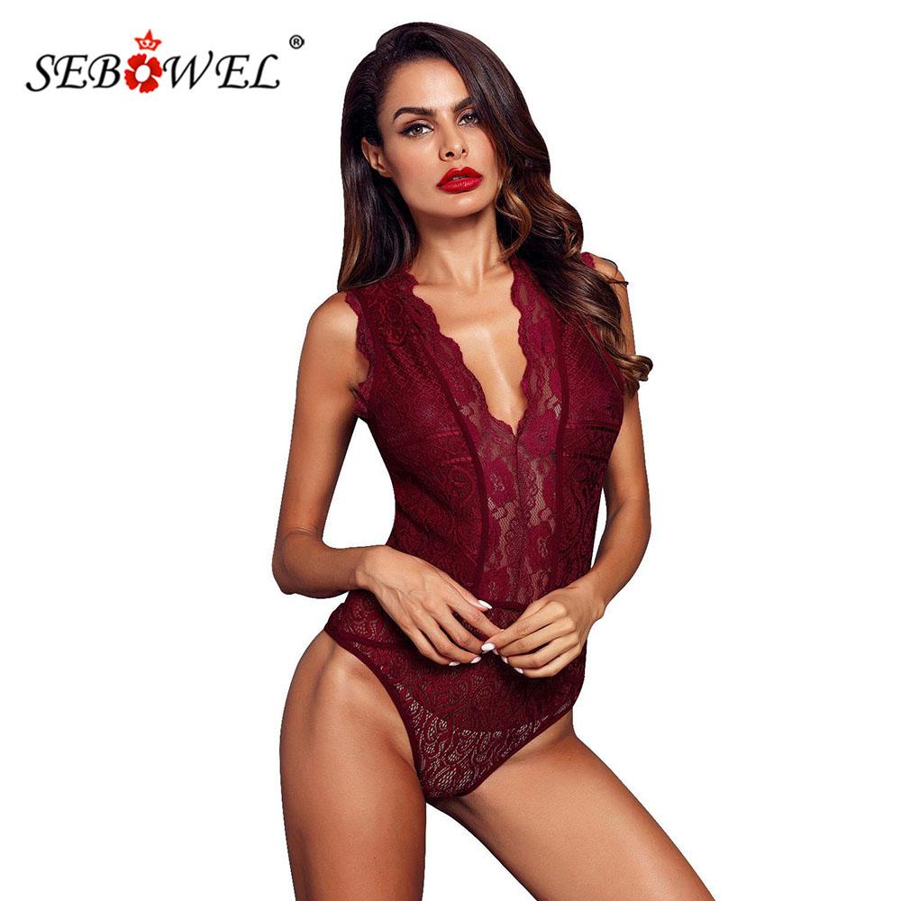 SEBOWEL Sexy Black/Red/White Sleeveless Lace Bodysuit Women Deep V Hollow out Bodysuits Feminine Transparent Bodycon Body Tops