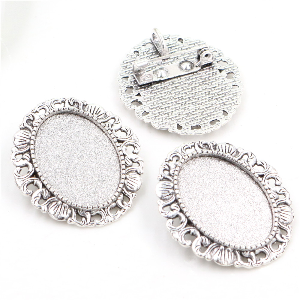 3pcs 18x25mm Inner Size Antique Silver Plated Brooch Pin Classic Style Cameo Cabochon Base Setting  (C2-11)
