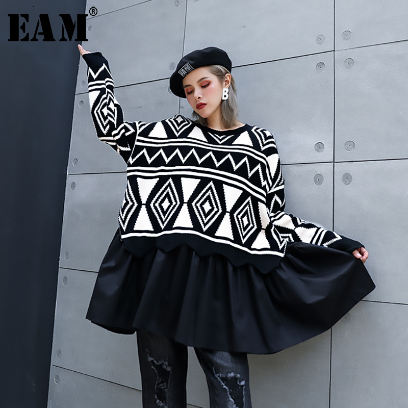 [EAM] Pattern Pleated Big Size Knitting Sweater Loose Fit Round Neck Long Sleeve Women New Fashion Tide Autumn Winter 2020 1H576