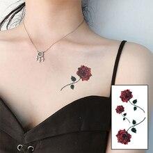 Color rojo flor de Rosa marca nueva moda impermeable tatuaje temporal tatuaje falso prediseñado henna WM201