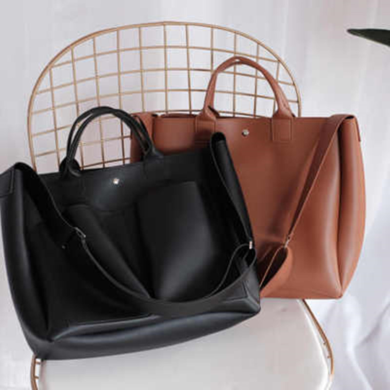 Image 5 - 2019 new Pu Leather Bag Simple Handbags Famous Brands Women Shoulder Bag Casual Big Tote Vintage Ladies Crossbody Bags-in Top-Handle Bags from Luggage & Bags
