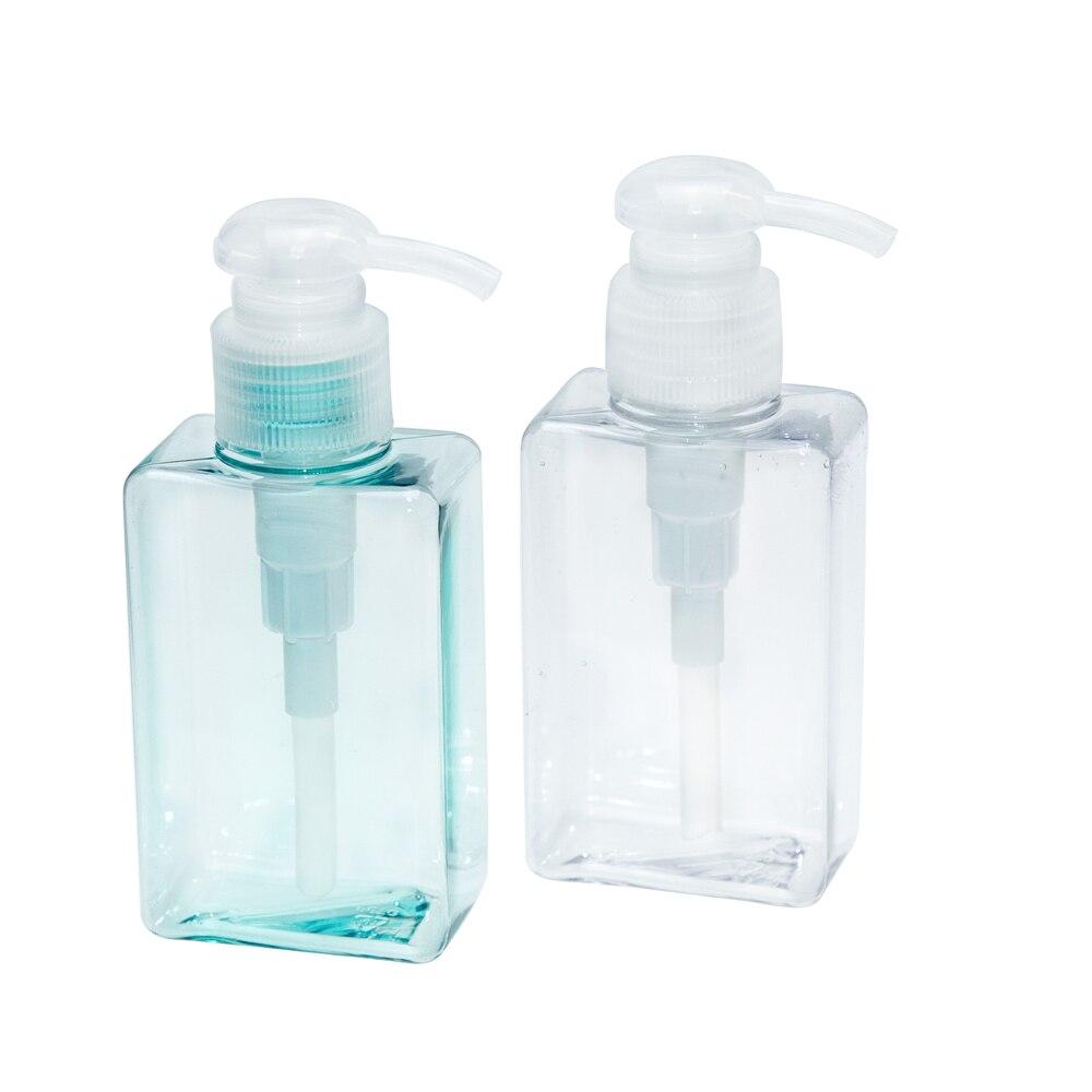 2PC 100ml Shampoo Disinfectant Refillable Plastic Lotion Pump Square Hand Sanitizer Mini Travel Eco-Friendly Storage Bottles