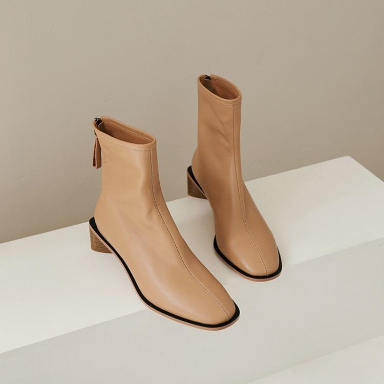 Mljuese 2020 여성 발목 부츠 암소 가죽 겨울 짧은 플러시 지퍼 라운드 발가락 블랙 컬러 하이힐 여성 부츠 파티 드레스-에서앵클 부츠부터 신발 의  그룹 1