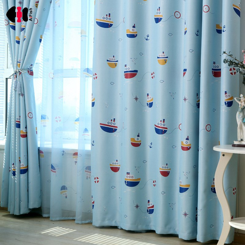 Cartoon Boat Printed Curtains For Kids
