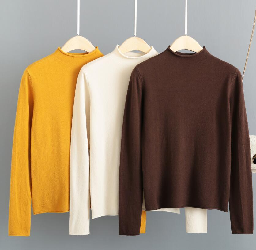 2019 Autumn Winter Knitted Tops Chimney Collar Thin Pullover Solid Turtleneck Sweater Pull Femme