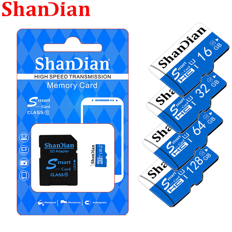 SHANDIAN Original Smart SD Class10 Up To 95MB/S Smartsd 128GB/64GB/32GB/16GB Class 10 Up To 80MB/S For Phones Cameras
