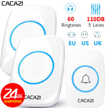 CACAZI 60 Chime 110DB Wireless Doorbell Waterproof 300M Remote EU AU UK US Plug