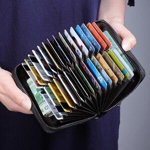 Image 5 - Newbring 정품 가죽 기능 nfc 차단 12 30 비트 명함 홀더 남여 지퍼 은행/id/신용 카드 지갑 여성 남성