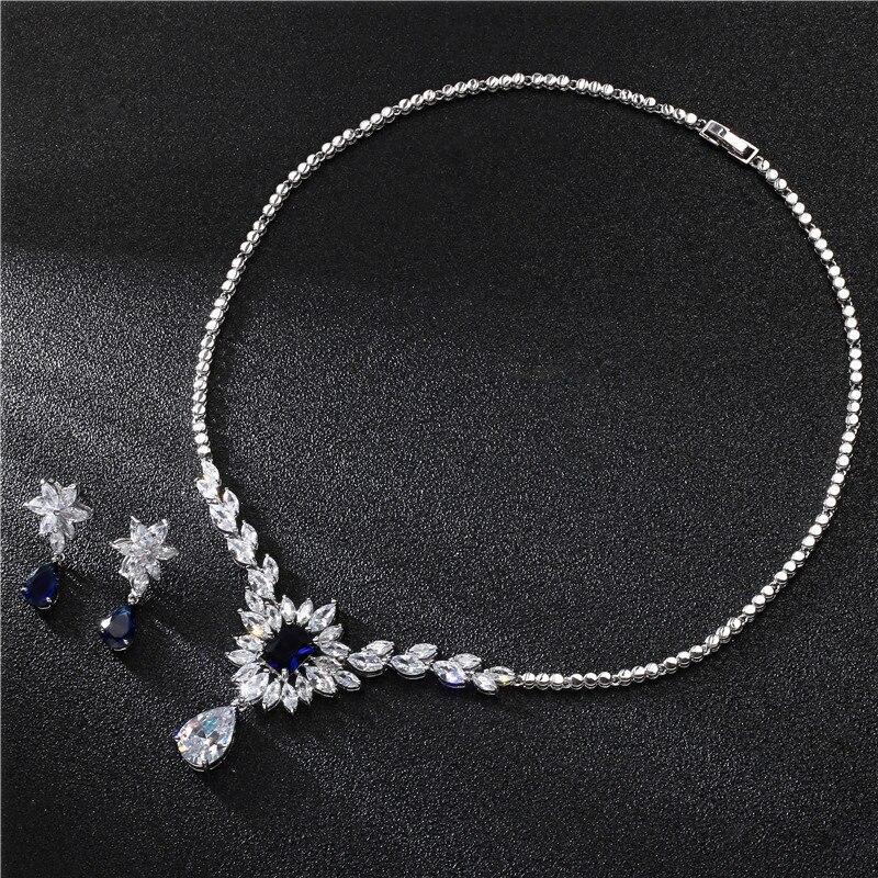 Ensembles de bijoux de mariage mode fleur Simple pour femmes Micro Pave Zircon couleur argent boucles d'oreilles colliers ensemble