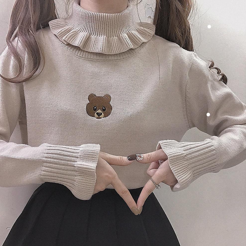 Harajuku Cute Bear Girl Sweater Vintage Knitted High Neck Kawaii Female Pullover Women Turtleneck Ruffle Slim Jumper White Black