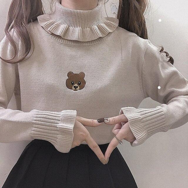 Harajuku น่ารักหมีสาวเสื้อกันหนาว VINTAGE คอ Kawaii หญิงถัก Pullover ผู้หญิง Ruffle Slim JUMPER สีขาวสีดำ