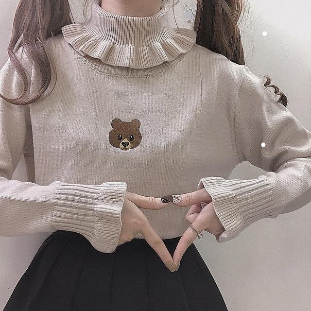 Harajuku słodki miś dziewczyna sweter z golfem Vintage na szyję Kawaii kobiet dziergany sweter kobiet wzburzyć wąski sweter biały czarny