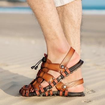 New Fashion outdoor Men Sandals Leisure Beach Men Casual Shoes High Quality Genuine Leather Sandals Men's Sandals Big size 38-47