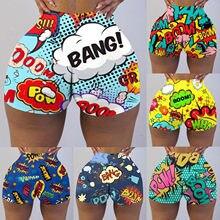 Pantalones cortos de mujer verão feminino empurrar para cima cintura alta shorts estiramento praia quente engraçado palavras imprimir calças curtas leggings magros