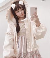 Japanese sweet Lolita coat autumn/winter plus velvet thickening wool Lolita kawaii jacket student long sleeve coat