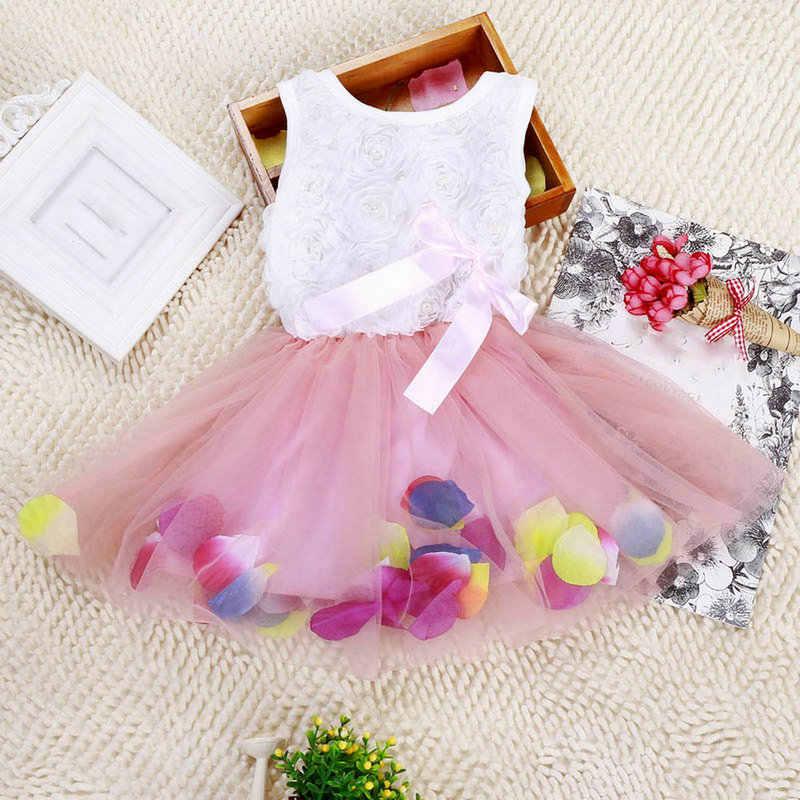 Fashion Pageant Dress Clothes Kid Girl Princess Dress Toddler Sleeveless Dress Tutu Lace Flower Bow Dresses
