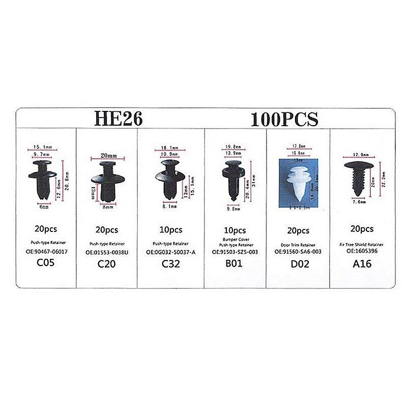 Image 4 - 6 sizes 100pcs Fastener Clip Mixed Car Body Push Retainer Pin Rivet Bumper Door Trim Panel Retainer Fastener Kit-in Auto Fastener & Clip from Automobiles & Motorcycles