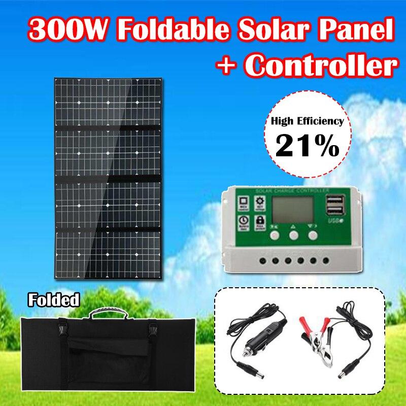 300w 12v dobravel painel solar com controlador de carregamento usb celulas solares carregador de bateria para