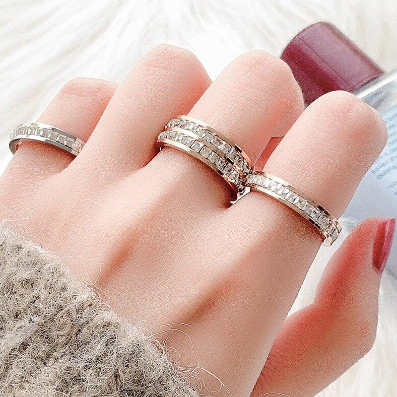 KNOCK  Girls Geometric Ring  Filled & Rose Gold Ring Promise Wedding Engagement Rings For Women Best Gifts 3