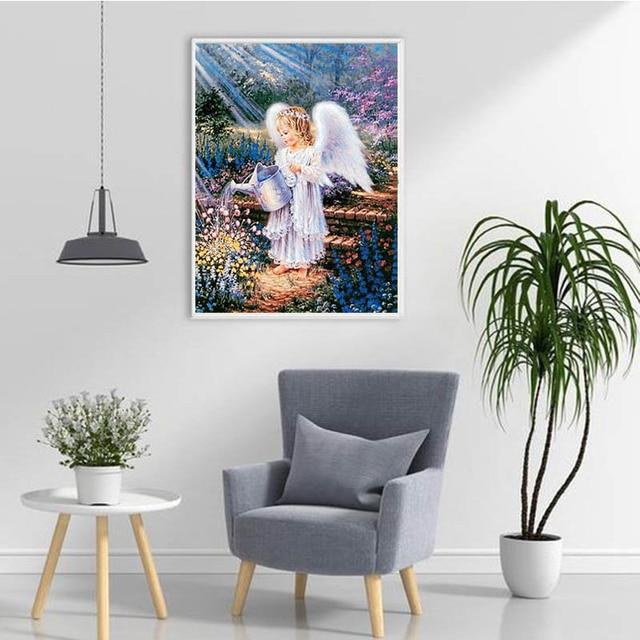 Фото diy 5d diamond painting angel guarded embroidery cross stitch цена