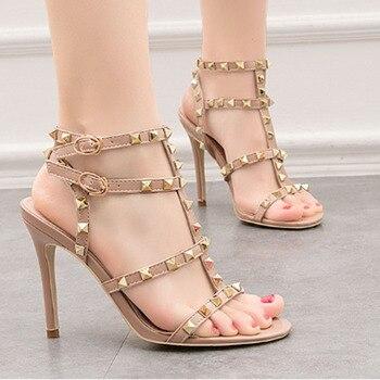 Women's retro sexy heels patent-leather metal rivet shoes sexy nightclub sandals Roman sandals high heels for women
