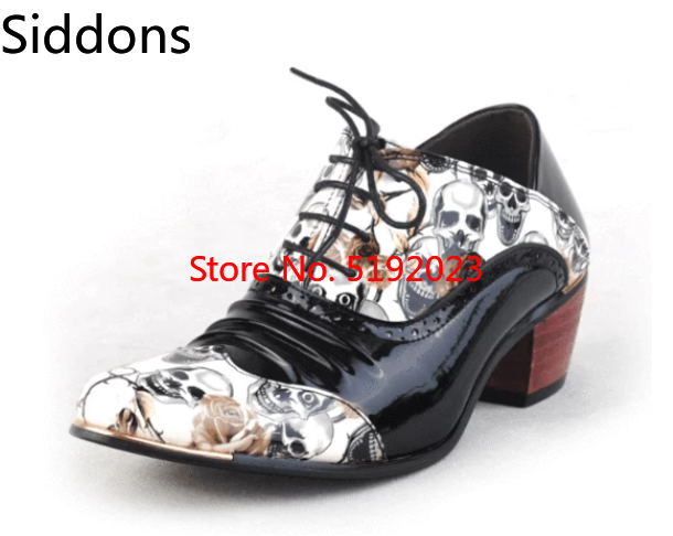 New Skull Men Formal Shoes Pointed Toe Fashion Men Oxfords British Style High Heels Boots  Zapatos De Hombre  D308