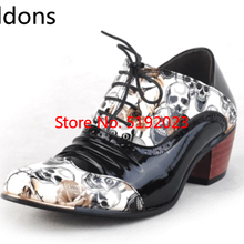 New Skull Men Formal Shoes Pointed Toe Fashion Men