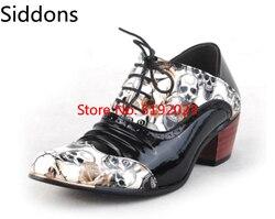 Novo crânio masculino sapatos formais apontou toe moda masculina oxfords estilo britânico botas de salto alto zapatos de hombre d308