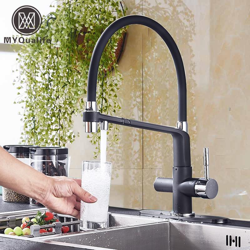 Matte Black  Kitchen Sink Faucet Pure Water Filter Drink Mixer Tap Dual Handles Two Spout Bathroom Kitchen Tap Hot Cold Crane