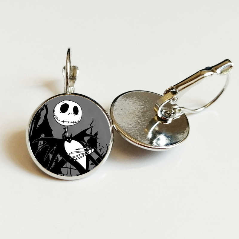 The Nightmare Before Christmas Cartoon Earrings Jack Skellington Movie Poster Gothic Skull personality Earrings jewelry