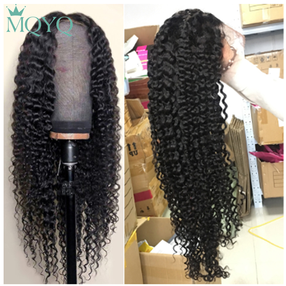 MQYQ Brazilian 4*4 Lace closure Hair Wigs For Women non-Remy Hair Kinky curly lace closure Wigs With Baby Hair Natural color