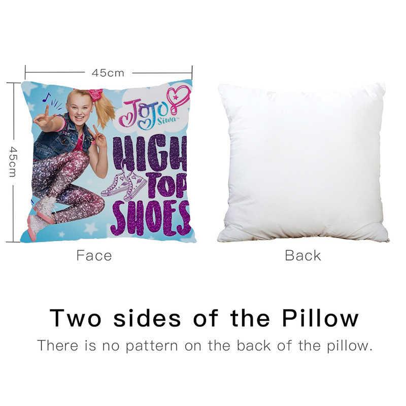 A pequena menina bonito jojo siwa feliz rosa menina impresso travesseiro sofá cama de carro sofá travesseiro caso decoração do quarto capa de almofada