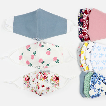 3 Sizes Floral Face Mask Fashion 100%Cotton Fabric 3D Adjustable Washable Reusable Cloth Protective Adult Kids Masks Women Cute 1