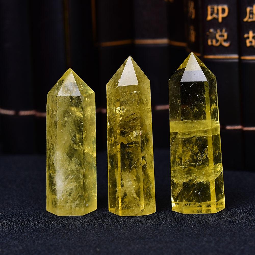 1 adet doğal kristal noktası Citrine şifa dikilitaş sarı kuvars değnek güzel süs ev dekor için enerji taşı piramit