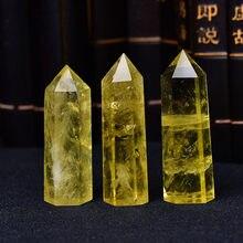 1pc naturalny kryształ punkt Citrine Healing Obelisk żółty kwarcowy różdżka piękny Ornament do wystroju domu kamień energetyczny piramida