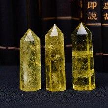 Citrino Natural de punto cristalino, obelisco curativo, varita de cuarzo amarillo, adorno bonito para la decoración del hogar, pirámide de piedra de energía 1 pieza