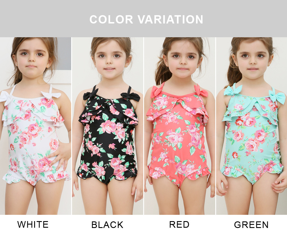 Swimwear Japanese Korean New Style Children Cute Printed One-piece Swimming Suit 2 Pieces Strapless Lace-up Tour Bathing Suit