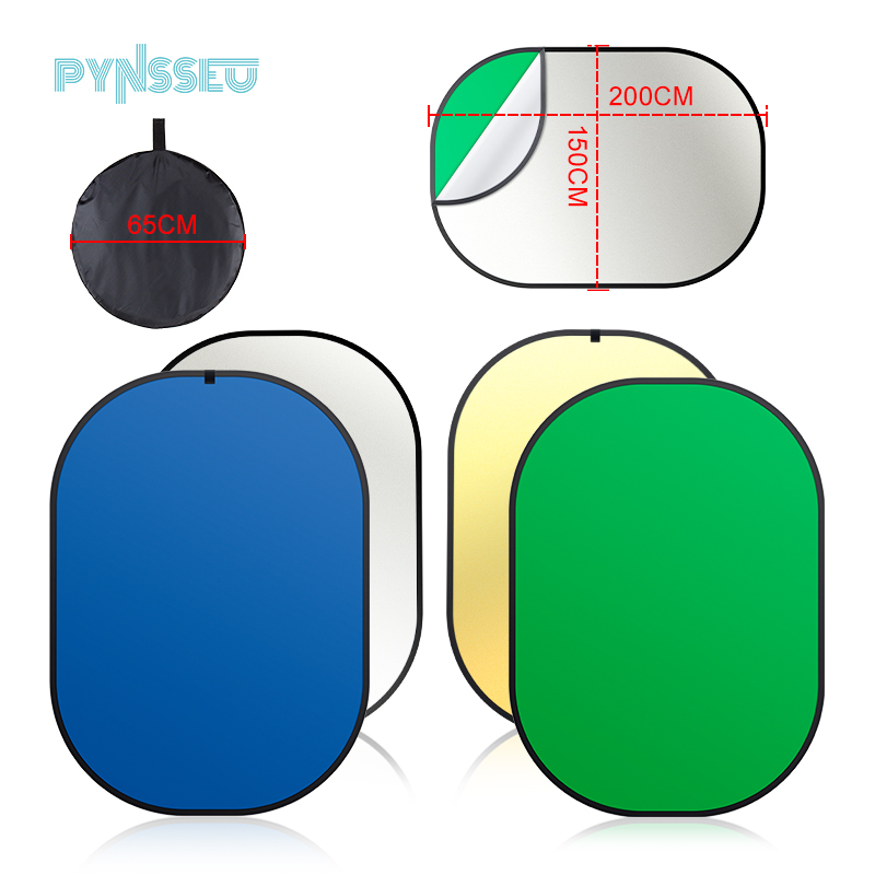 PYNSSEU 4 in 1 Collapsible Reversible Background Panel 5x7ft Chromakey Green Blue Screen with Carry Bag  100percent Cotton Muslin