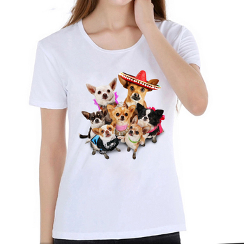 Kawaii Chihuahua Retro Beauty print T-Shirt summer cute women Tshirt funny dog family Girl Tops fashion casual plus size dress