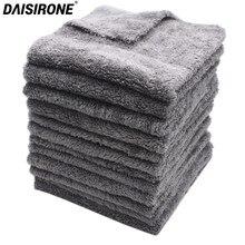 Toalha sem bordas de microfibra 350gsm, toalha cinza para lavagem de carro, limpeza de carro, pano de cuidados, toalha para lavar carro