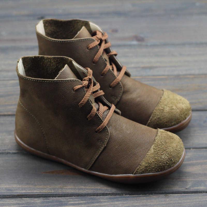 Kadın kışlık botlar hakiki deri rahat yarım çizmeler rahat kaliteli yumuşak el yapımı düz ayakkabı botları 2020 kış