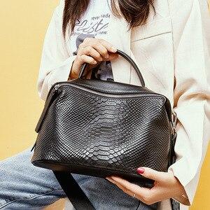 Image 4 - Zency Crocodile Pattern Women Tote Handbag Made Of Genuine Leather Daily Casual Crossbody Shoulder Bag For Lady Black Grey