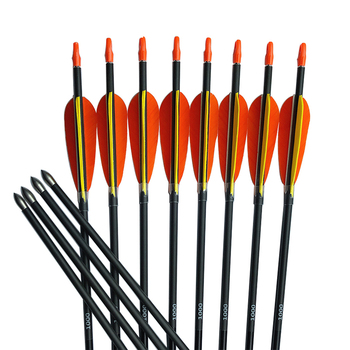 "12Pcs Carbon Arrows SP600-1000 30'' ID4.2mm 4"" Turkey Fearther Vanes 80gr Broadhead Archery for Recurve Bow Hunting"